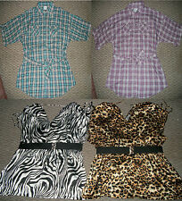 NWT WESTERN PLAID CAMP SHIRT ANIMAL PRINT LEOPARD ZEBRA TOP WOMENS PLUS 1X 2X 3X
