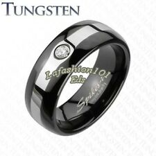 8mm Tungsten Black IP 2-Tone Brushed Center Mens Wedding Band W/CZ Ring SZ 9-13