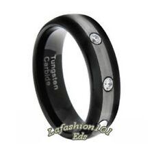 Tungsten Black IP Brushed Center 3 Clear CZs Mens Wedding Ring SZ 9,10,11,12,13