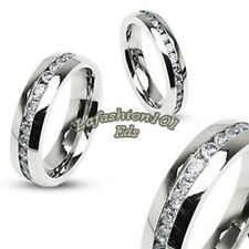 Stainless Steel Mens/Womens Eternity Ring Band w/ Clear Gems All Around SZ 5-13