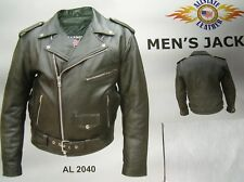 SIZES - 40 to 56 BLACK Naked Cowhide Leather Mens Motorcyle Jacket Zip Out Liner