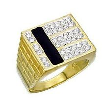 Men's Stylish Square Onyx and CZ Gold Plated Ring SIZE 9,10,11,12,13