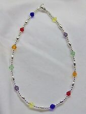 Sterling Silver Rainbow Crystal Bracelet/Ankle Bracelet (2940) Free Shipping
