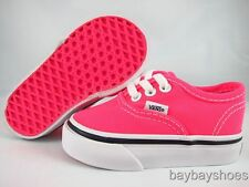 VANS AUTHENTIC NEON PINK/TRUE WHITE/BLACK BABY INFANT TODDLER ALL SIZES