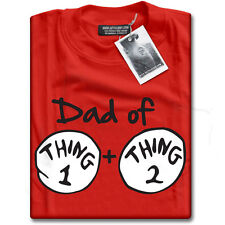 Dad of Thing 1 One and + Thing 2 Two Fancy Dress Costume Mens Red T-Shirt NEW