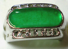 Chinese Green Jade 18K Gold White Gold Plated Men's Women's Ring Size 11