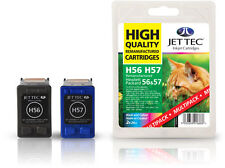 2 Remanufactured Jettec HP56/HP57 Printer Ink Cartridges for Officejet 5515&more