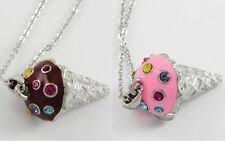 NEW CRYSTAL ICE CREAM CONE PENDANT NECKLACE CHOCOLATE OR STRAWBERRY