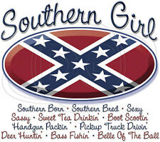 women's t-shirt tee rebel dixieflag SOUTHERN BORN & BREED GIRL NEW redneck  new