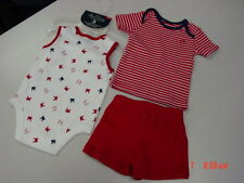 NWT Infant Boys Red Faded Glory 3 piece set Shirt Creeper Shorts New UNUSED
