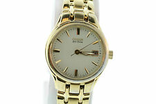 Ladies Citizen Gold Tone Bracelet Watch Champagne Patterned Dial
