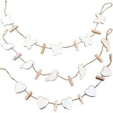 Shabby Vintage Chic White Photo Garland String of Pegs Picture Memo Garland