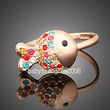 18k Rose Gold GP Multi-Swarovski Crystal Goldfish Ring M81