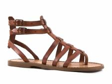 HANDMADE WOMENS FLAT GLADIATOR SANDALS MAN MADE IN ITALY IN CUIR LEATHER