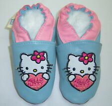 HELLO KITTY baby blue soft sole leather baby shoes