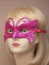 Masquerade Glitter Masks in 4 colours with Bright Coloured Ribbon (J050)
