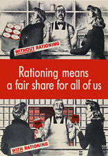 2W75 Vintage WWII Rationing A Fair Share For All Wartime War Poster WW2 A1 A2 A3