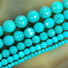 """Faceted Blue Turquoise Round Beads 15"""" 4 6 8 10 12mm pick Size"""
