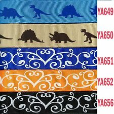 22mm 25mm 5yds DINOSAUR animal Leaf Heart Pattern grosgrain ribbon DIY bow craft