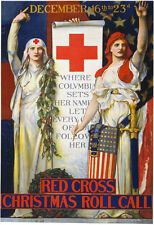 W58 Vintage WWI Red Cross Christmas Roll Call Recruitment War Poster WW1 A4