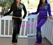 PLUS SIZE CRYSTAL CROSS NECKLACE WINGS SWEATSUIT PANTS JOGGING SUIT 1X 2X 3X
