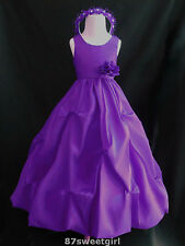 PPO1 PURPLE  WEDDING FLOWER GIRL DRESS PROM BRIDESMAID SIZE 2 4 6 8 10 12 14