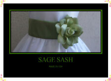 NEW SAGE  SASH  BELT MATCH  WEDDING  FLOWER GIRL DRESS