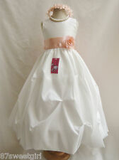 PO1 PICK UP IVORY / PEACH SASH CHILDREN PAGEANT FLOWER GIRL DRESS ALL SIZE