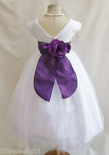 NEW VB WHITE/PURPLE LAPIS PAGEANT PRINCESS DAVIDS PROM TODDLER FLOWER GIRL DRESS