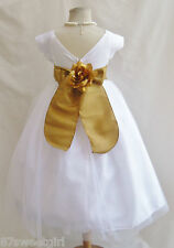 NEW VB WHITE/GOLD PAGEANT PRINCESS WEDDING GOWN DAVIDS TODDLER FLOWER GIRL DRESS