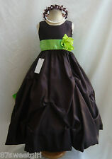 NWT PO1 BROWN / APPLE GREEN DAVIDS WEDDING CHRISTMAS PAGEANT FLOWER GIRL DRESS