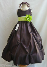NWT PO1 BROWN / LIME GREEN DAVIDS WEDDING CHRISTMAS PAGEANT FLOWER GIRL DRESS