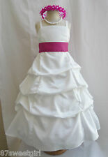 SPU IVORY FUCHSIA BEGONIA WEDDING PARTY RECITAL GOWN PAGEANT FLOWER GIRL DRESS