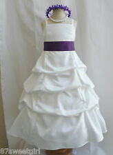 SPU IVORY LAPIS PURPLE WEDDING PARTY RECITAL GOWN PAGEANT FLOWER GIRL DRESS