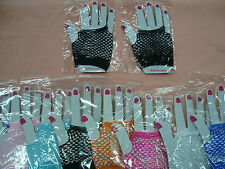 Wrist Length Fingerless Fishnet Gloves - One Size Fits Kids to Adults - One Pair