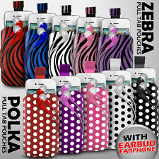 LEATHER POLKA & ZEBRA PULL TAB CASE POUCH + EARPHONES FITS VARIOUS ZTE PHONES