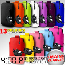 LEATHER PULL TAB POUCH CASE COVER & MAINS CHARGER FOR VARIOUS ZTE MOBILE PHONE