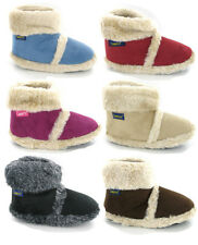 NEW COOLERS WOMENS GIRLS FUR LINED WARM COSY SLIPPERS ANKLE BOOTIES SIZE 3-8 UK
