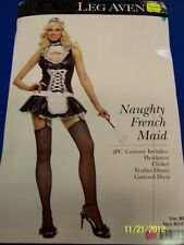 4 pc. Naughty French Maid Upstairs Chamber Dress Up Halloween Sexy Adult Costume