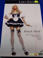 3 pc. French Maid Upstairs Chamber Black Dress Up Halloween Sexy Adult Costume