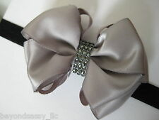 Baby Girls Elegant Boutique Satin Hair Bow Rhinestone Bling Strech Headband Clip