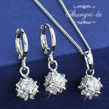 White GOLD GF Swarovski CRYSTAL SILVER Magic BALL NECKLACE EARRINGS SET EX451
