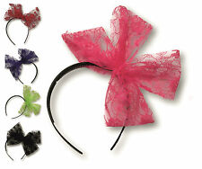 80s Neon Flo Lace Lacy Bow Alice Band Hairband Goth Emo Hen Party Tutu Eighties