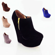 WOMENS LADIES BLACK SUEDE PLATFORM HIGH HEEL WEDGE ANKLE SHOES BOOTS SIZE H610R