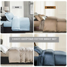 100% 1000TC Egyptian Cotton Collection Fitted/Flat/Pillowcases Sheet Set 9 Color