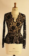 Baylis & Knight Black Nude Lace PEPLUM Low Cut Long Sleeve Top Elegant Burlesque