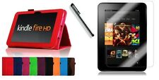 """AMAZON KINDLE FIRE HD 8.9"""" LEATHER CASE COVER STAND + SCREEN PROTECTOR + STYLUS"""