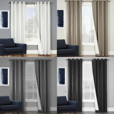 SORRENTO: QUALITY TEXTURED BLOCKOUT EYELET CURTAINS 100% BLACKOUT ROOM DARKENING