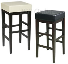SET OF 4 CREAM or BLACK Faux Leather 30H Square Bar Counter Stool Backless Chair