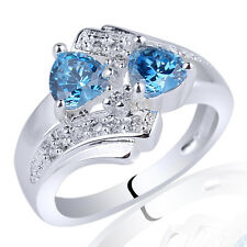 Twin-heart 5mm Stone Lady Chic S925 Sterling Silver Ring Multi Size Gift Choice